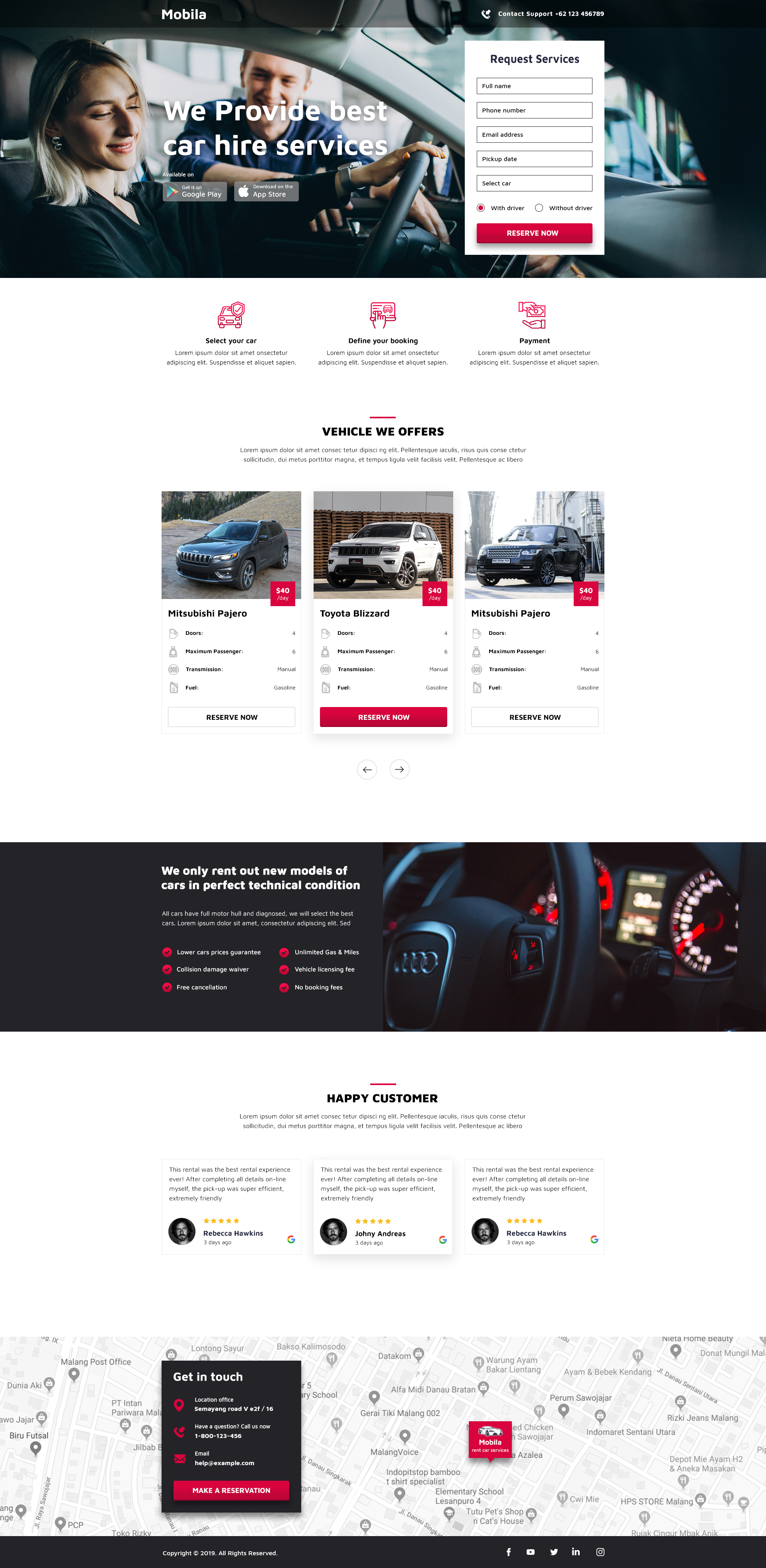 rent car landingpage